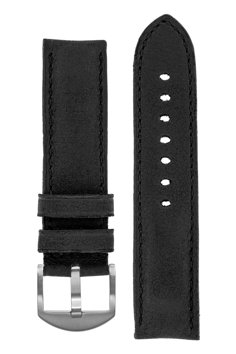 Rios1931 DERBY Genuine Vintage Leather Watch Strap in BLACK