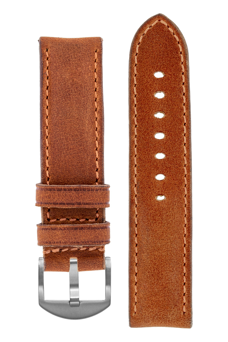 Rios1931 DERBY Genuine Vintage Leather Watch Strap in COGNAC