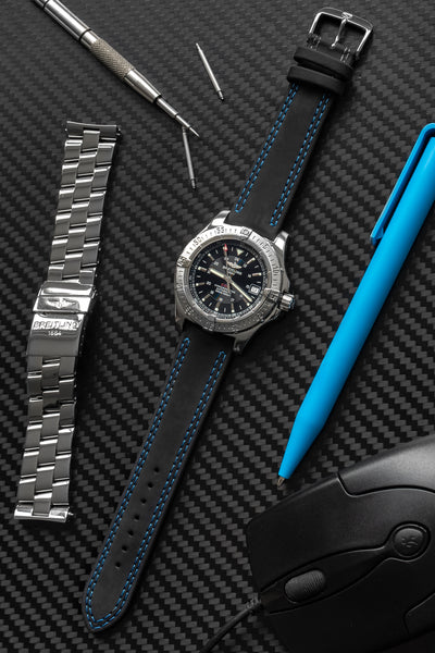 Di-Modell Colorado Rubber-Coated Leather Watch Strap in Black with Blue Stitch (Promo Photo)