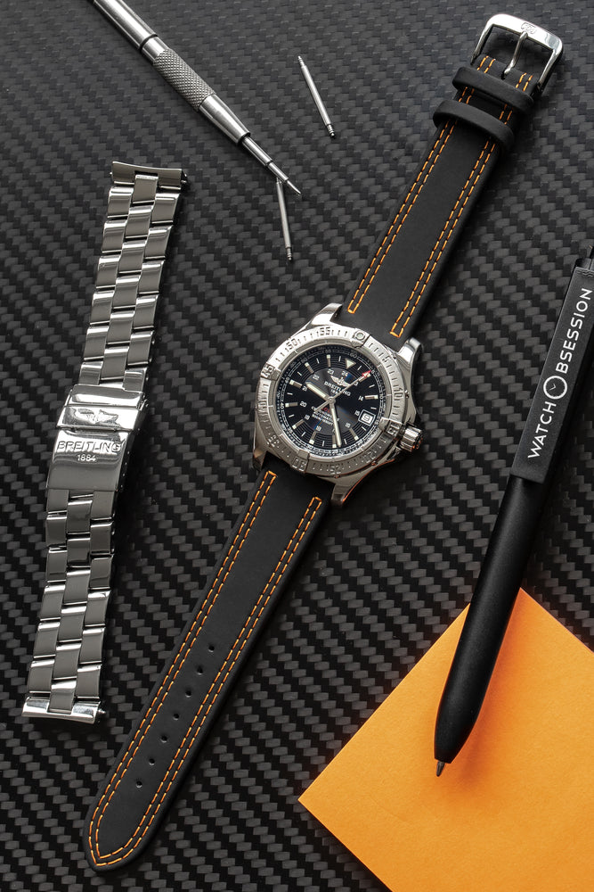 Di-Modell Colorado Rubber-Coated Leather Watch Strap in Black with Orange Stitch (Promo Photo)