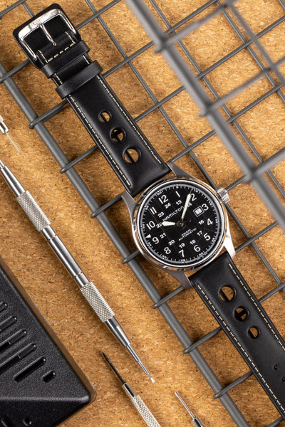 Di-Modell AVUS Leather Racing Watch Strap in BLACK