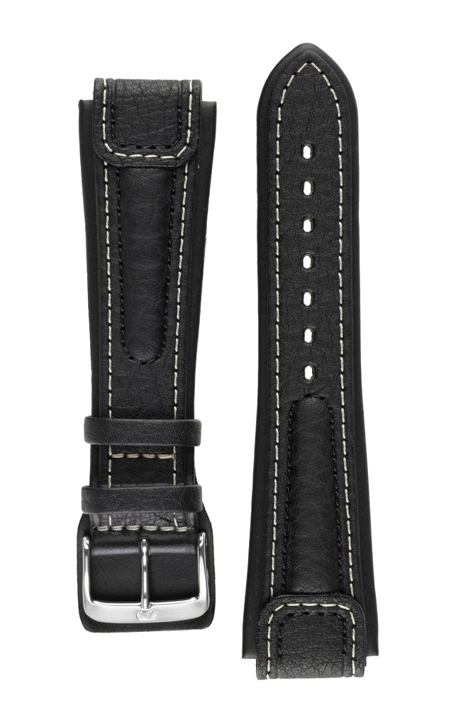 Di-Modell CHRONISSIMO Waterproof Leather Watch Strap in BLACK / WHITE