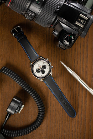 Load image into Gallery viewer, Di-Modell DENVER Calf Leather Watch Strap in BLACK / BLUE