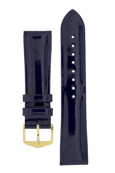 Hirsch Diva Glossy Lacquered Ladies Leather Watch Strap in Blue (with Polished Gold Steel H-Standard Buckle)