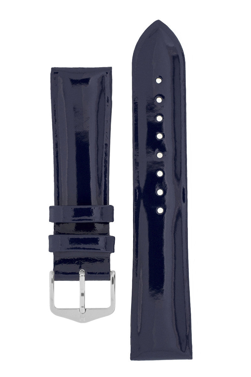 Hirsch DIVA Glossy Ladies Leather Watch Strap in BLUE