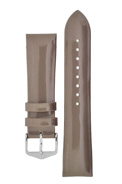 Hirsch Diva Glossy Lacquered Ladies Leather Watch Strap in Silver (with Polished Silver Steel H-Standard Buckle)