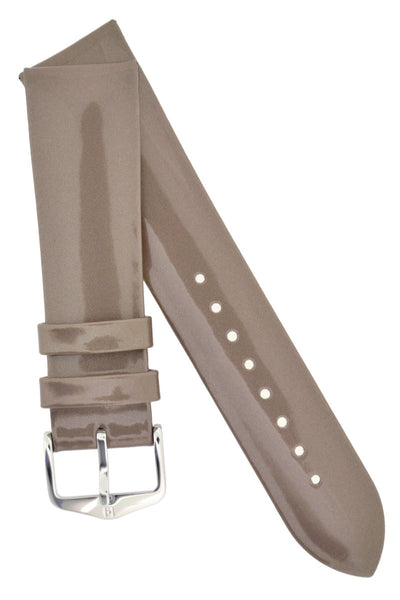 Hirsch Diva Glossy Lacquered Ladies Leather Watch Strap in Silver