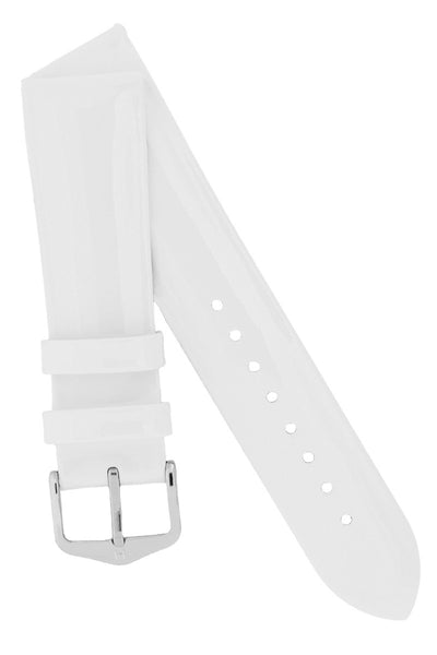 Hirsch Diva Glossy Lacquered Ladies Leather Watch Strap in White
