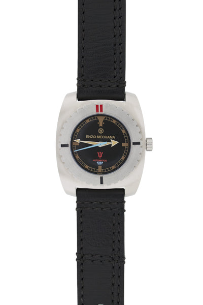 Enzo Mechana Limited Edition Acqua 500m Automatic Watch with Black Dial (on Black Leather Strap)