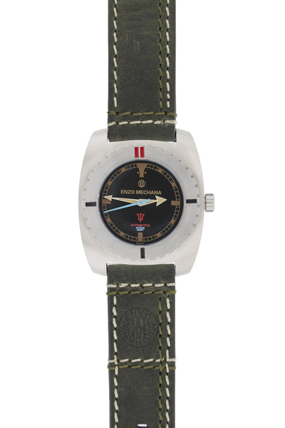 Enzo Mechana Limited Edition Acqua 500m Automatic Watch with Black Dial (on Grey Leather Strap)
