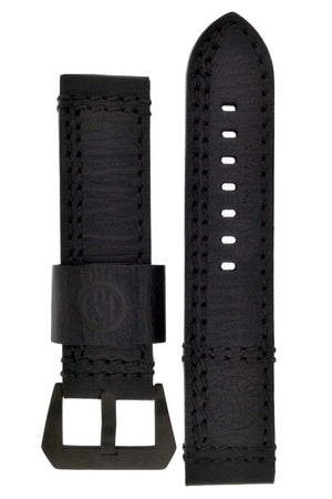 Enzo Mechana Double-Stitch Leather Watch Strap in Black (with Black PVD Buckle)