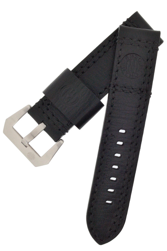Load image into Gallery viewer, Enzo Mechana Double-Stitch Leather Watch Strap in Black