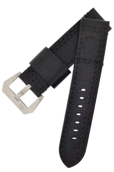 ENZO MECHANA Double Stitch Leather Watch Strap in BLACK