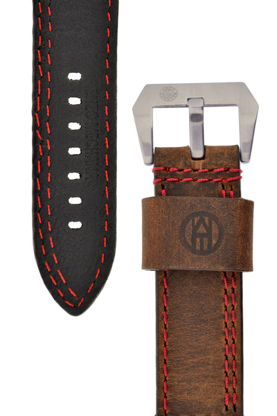 Enzo Mechana Double-Stitch Leather Watch Strap in Distressed Brown