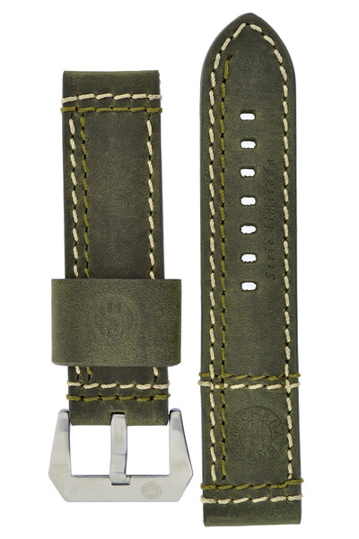 ENZO MECHANA Double Stitch Leather Watch Strap in DISTRESSED GREEN