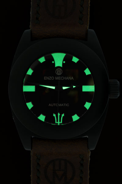 Enzo Mechana Mare Nero Limited Edition 42mm Automatic Watch with Black Dial (Fluorescent Dial)