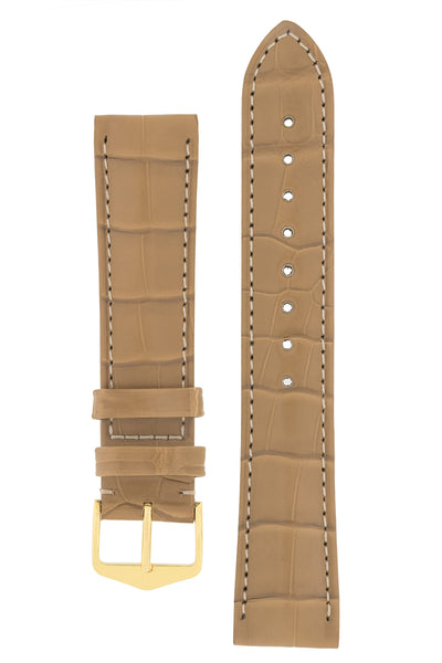 Hirsch Earl Genuine Alligator-Skin Watch Strap in Beige (with Polished Gold Steel H-Tradition Buckle)
