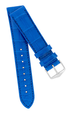 Hirsch EARL Genuine Alligator Watch Strap in ROYAL BLUE