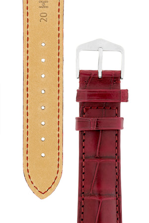Hirsch Earl Genuine Alligator-Skin Watch Strap in Burgundy (Tapers & Buckle)