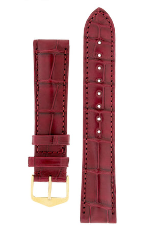 Hirsch Earl Genuine Alligator-Skin Watch Strap in Burgundy (with Polished Gold Steel H-Tradition Buckle)