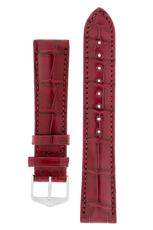 Hirsch Earl Genuine Alligator-Skin Watch Strap in Burgundy (with Polished Silver Steel H-Tradition Buckle)