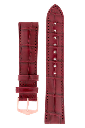 Hirsch Earl Genuine Alligator-Skin Watch Strap in Burgundy (with Polished Rose Gold Steel H-Tradition Buckle)