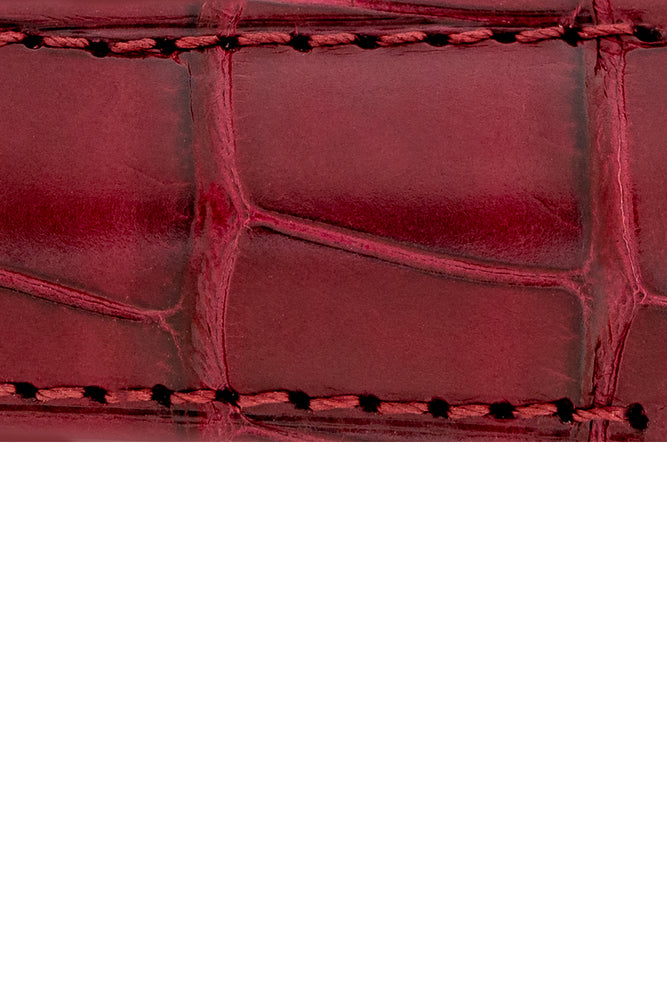 Hirsch Earl Genuine Alligator-Skin Watch Strap in Burgundy (Texture Detail)