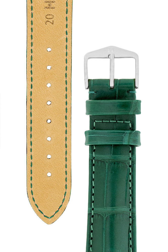 Hirsch Earl Genuine Alligator-Skin Watch Strap in Dark Green (Tapers & Buckle)