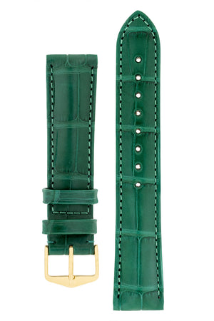Hirsch Earl Genuine Alligator-Skin Watch Strap in Dark Green (with Polished Gold Steel H-Tradition Buckle)