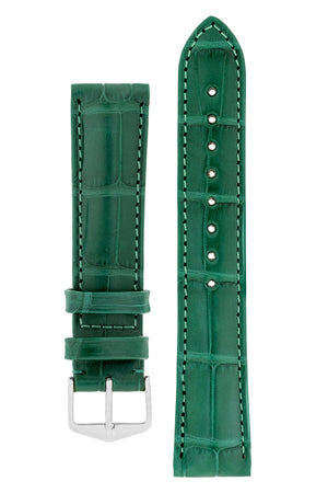 Hirsch Earl Genuine Alligator-Skin Watch Strap in Dark Green (with Polished Silver Steel H-Tradition Buckle)