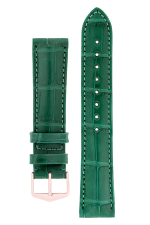 Hirsch Earl Genuine Alligator-Skin Watch Strap in Dark Green (with Polished Rose Gold Steel H-Tradition Buckle)