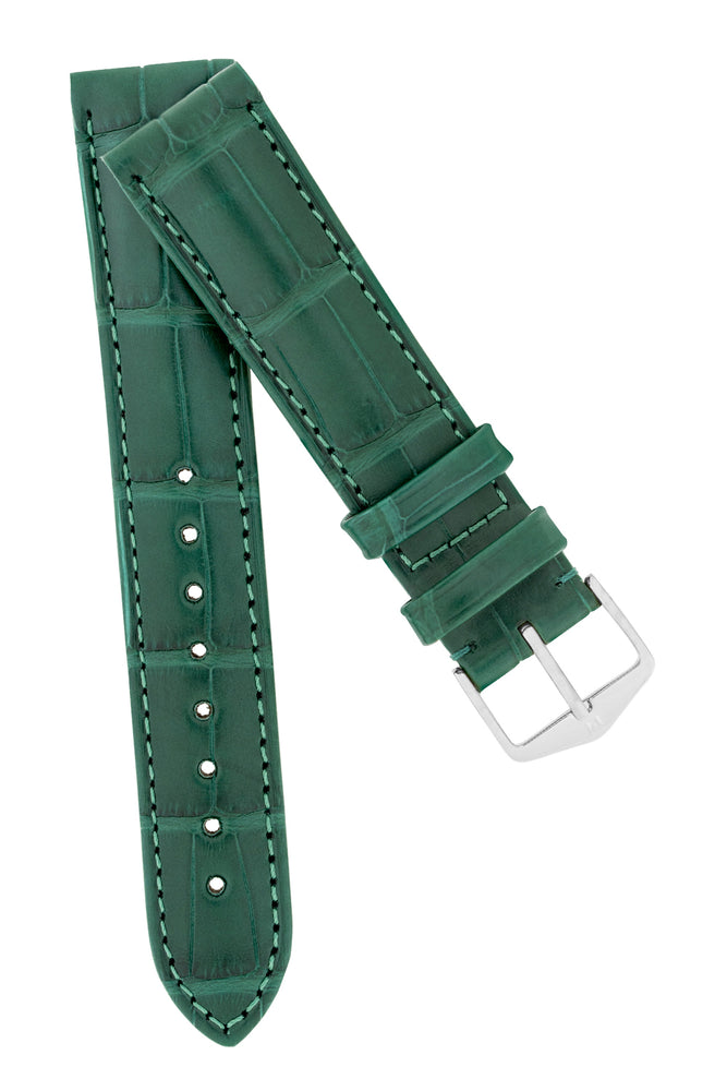 Hirsch Earl Genuine Alligator-Skin Watch Strap in Dark Green
