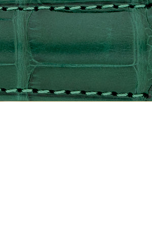 Hirsch Earl Genuine Alligator-Skin Watch Strap in Dark Green (Texture Detail)