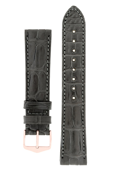 Hirsch EARL Genuine Alligator Watch Strap in GREY
