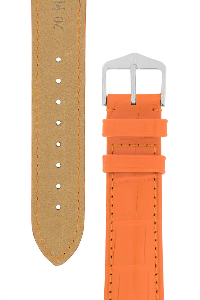 Hirsch Earl Genuine Alligator-Skin Watch Strap in Orange (Tapers & Buckle)