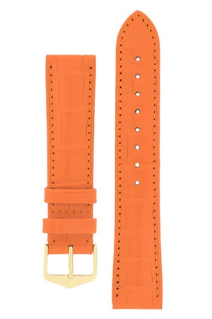 Hirsch Earl Genuine Alligator-Skin Watch Strap in Orange (with Polished Gold Steel H-Tradition Buckle)