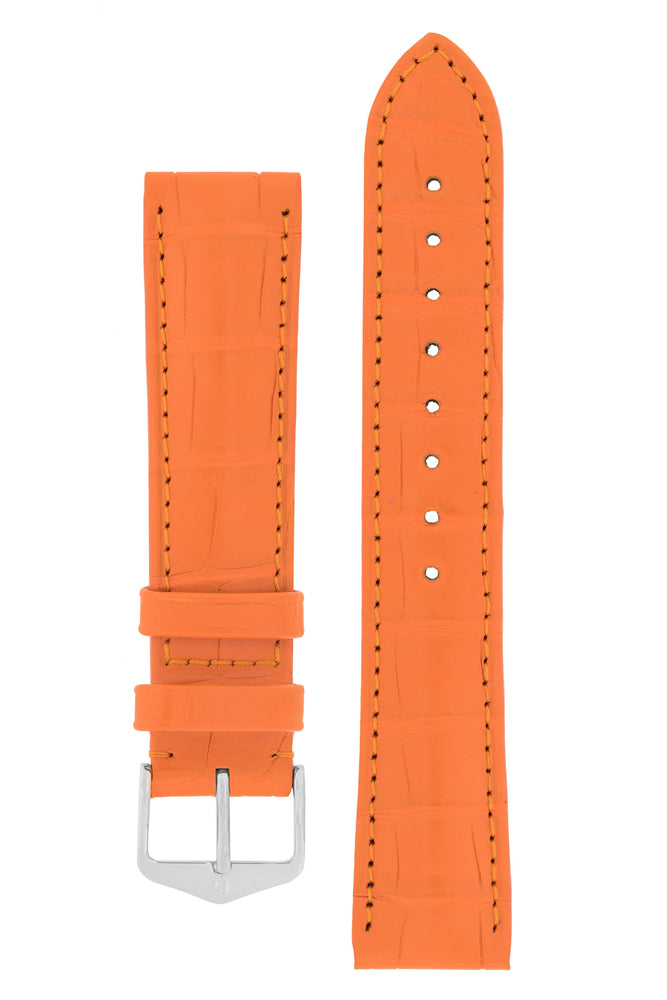 Hirsch Earl Genuine Alligator-Skin Watch Strap in Orange (with Polished Silver Steel H-Tradition Buckle)