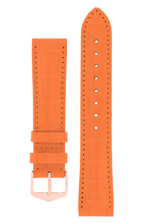 Hirsch Earl Genuine Alligator-Skin Watch Strap in Orange (with Polished Rose Gold Steel H-Tradition Buckle)