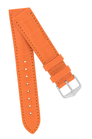 Hirsch Earl Genuine Alligator-Skin Watch Strap in Orange