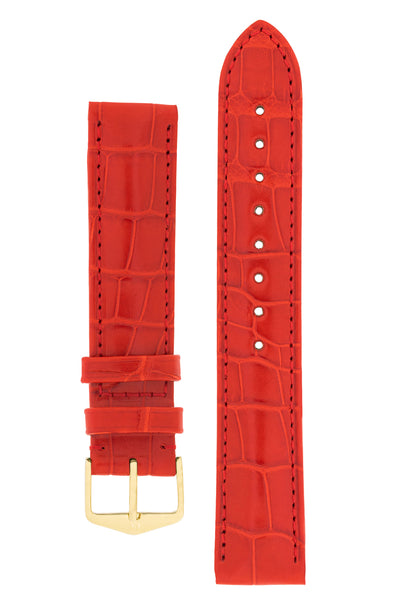 Hirsch Earl Genuine Alligator-Skin Watch Strap in Red (with Polished Gold Steel H-Tradition Buckle)