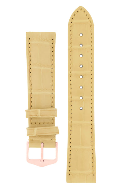 Hirsch EARL Genuine Alligator Watch Strap in YELLOW