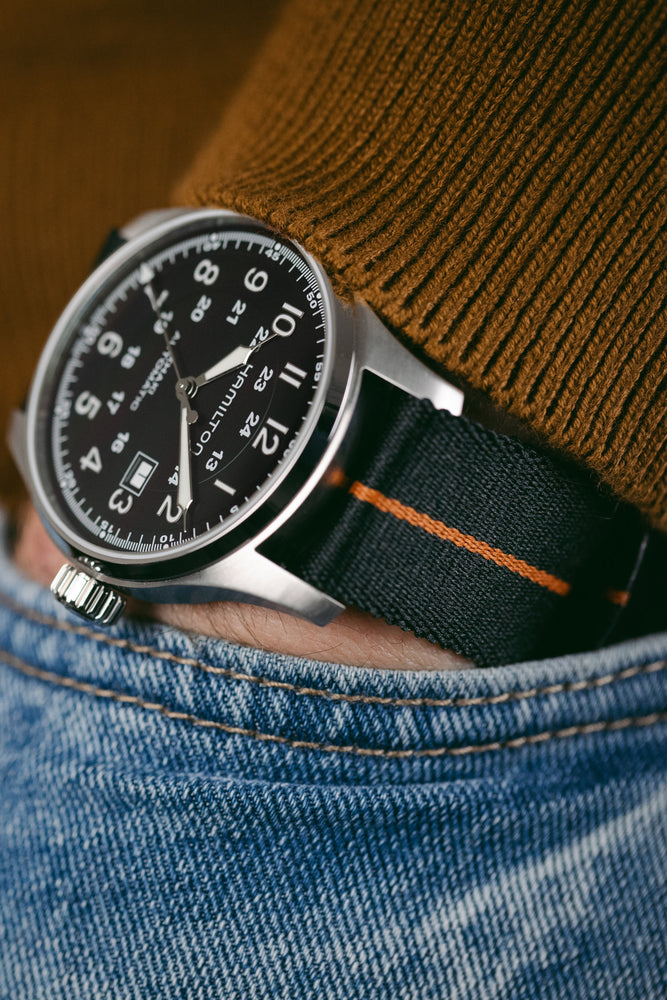 ELLIOT BROWN Webbing Watch Strap in BLACK with BURNT ORANGE Stripe and BRONZE PVD Buckle