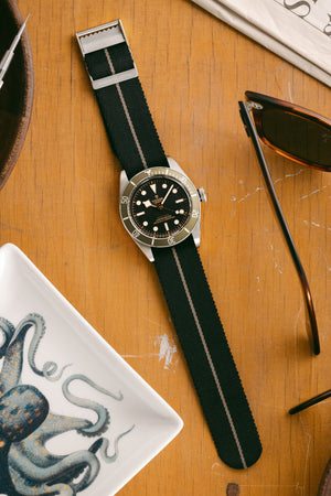 ELLIOT BROWN Webbing Watch Strap in BLACK with DESERT GREY Stripe and BEADBLASTED Buckle
