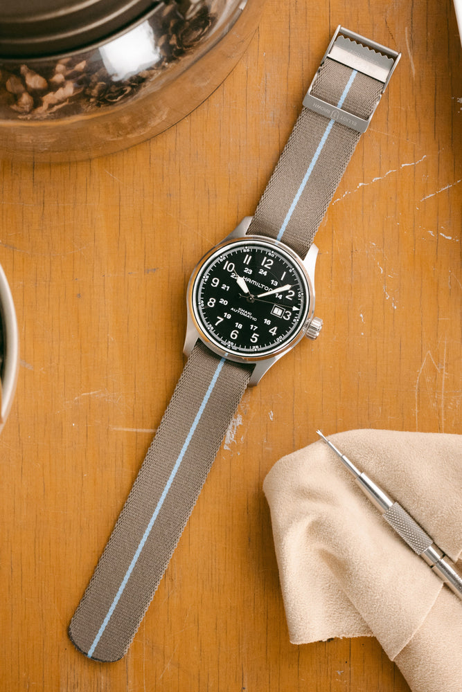 ELLIOT BROWN Webbing Watch Strap in DESERT BROWN with SKY BLUE Stripe and BEADBLASTED Buckle