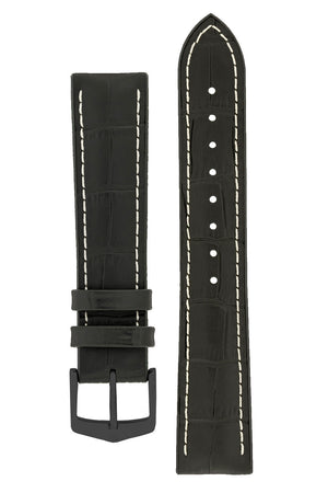 Hirsch George Alligator-Embossed Rubber-Lined Performance Watch Strap in Black with White Stitch (with Black PVD-Coated Steel H-Classic Buckle)