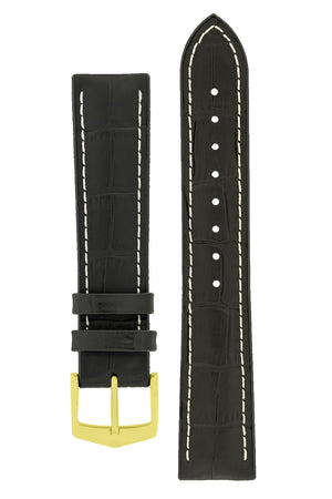 Hirsch George Alligator-Embossed Rubber-Lined Performance Watch Strap in Black with White Stitch (with Polished Gold Steel H-Classic Buckle)