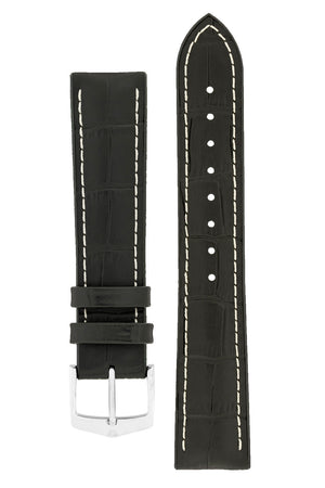 Hirsch George Alligator-Embossed Rubber-Lined Performance Watch Strap in Black with White Stitch (with Polished Silver Steel H-Classic Buckle)