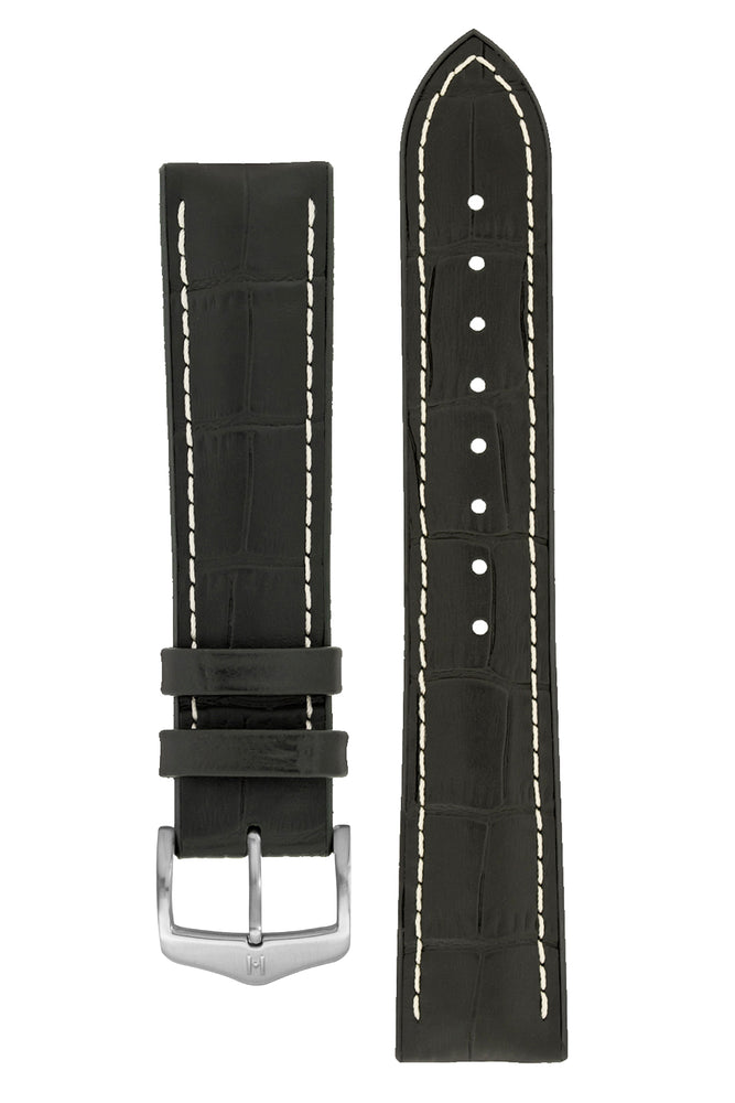 Hirsch George Alligator-Embossed Rubber-Lined Performance Watch Strap in Black with White Stitch (with Brushed Silver Steel H-Classic Buckle)
