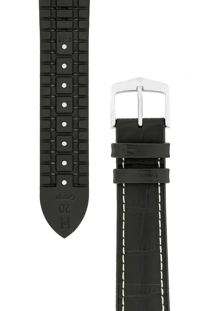 Hirsch George Alligator-Embossed Rubber-Lined Performance Watch Strap in Black with White Stitch (Tapers & Buckle)