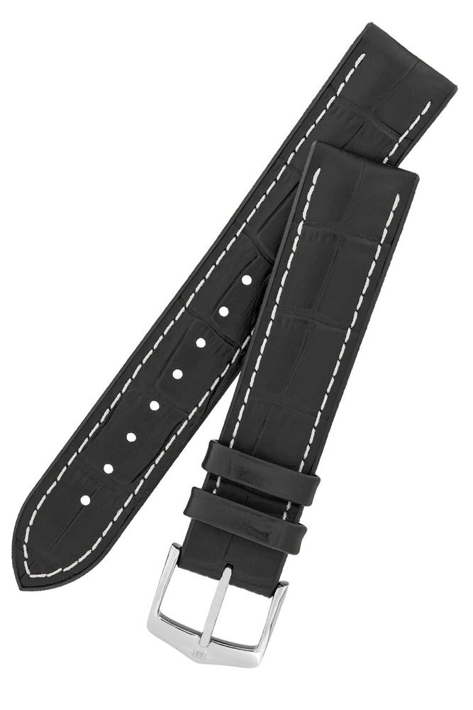 Hirsch George Alligator-Embossed Rubber-Lined Performance Watch Strap in Black with White Stitch